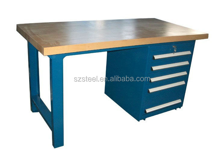 High quality steel workbench / worktable with drawer cabinet, industrial heavy duty metal workbench