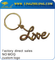 Promotion gifts alphabet letter love key chain with split gold ring