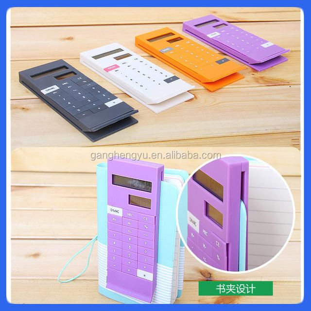 Hot sale portable colorful solar clip book calculator