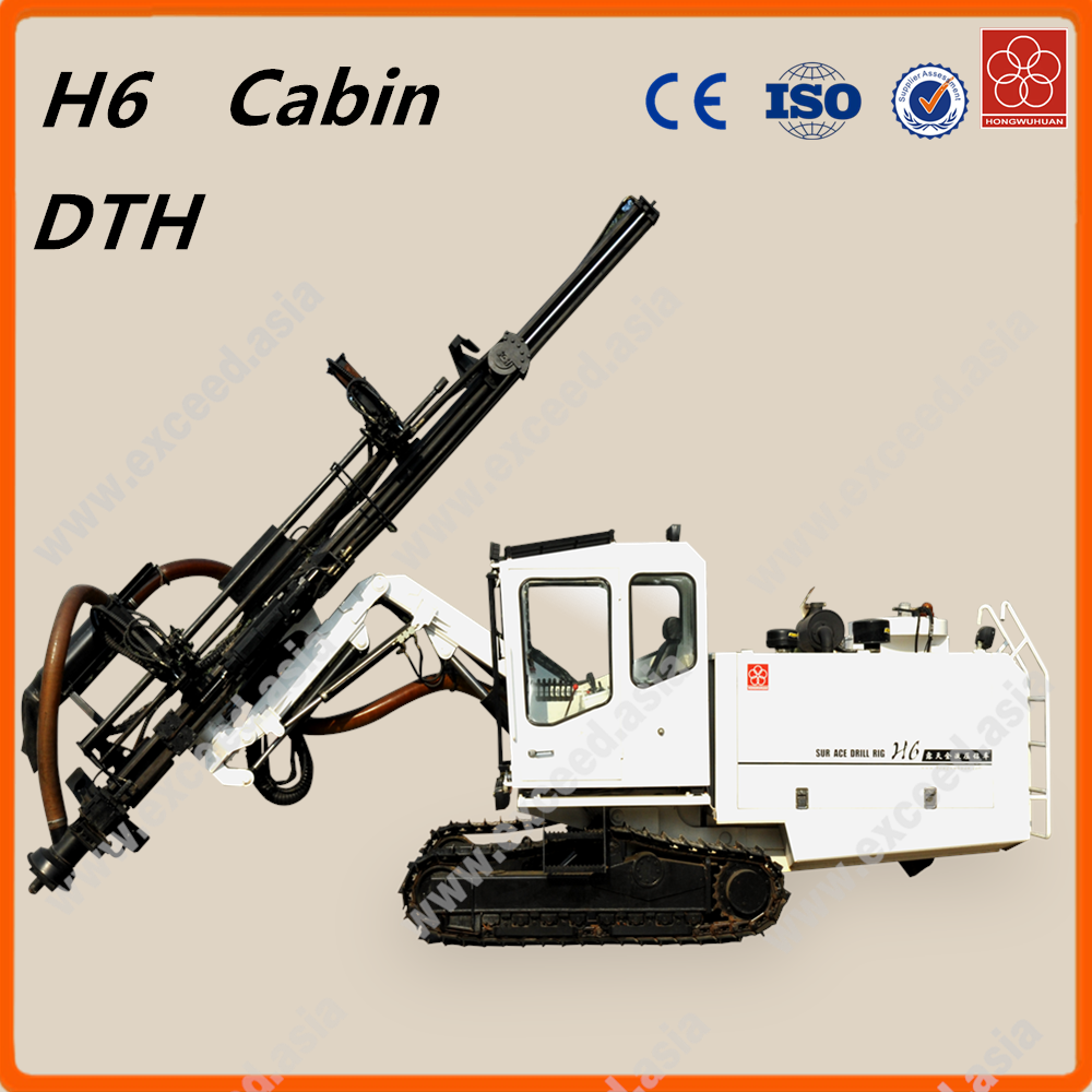 Cabin H6 pneumatic & hydraulic mechanical integrated type portable tophammer surface drill rig for mining