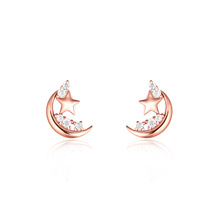 New Arrivel Fashion Jewelry Moon and Star Crystal Earrings 14K Rose Gold Earring for Woman