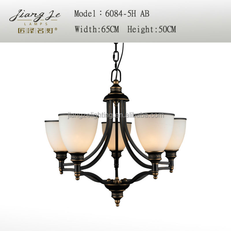 Fluorescent Uptown five Light Chandelier in Blacksmith Finish with Glass Good quality chandelier lamps 6084-5H
