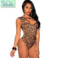 Maclove 2016 New Arrival Wholesale Price Sexy Ladies Short Leopard Jumpsuit