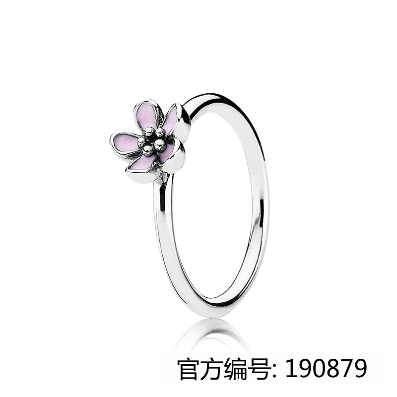 Factory Price pure jewelry 925 silver engagement rings cherry blossom shape enamel rings for ladies for pandoras rings