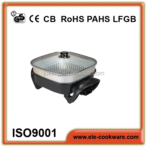 Die casting ceramic fry pan with glass lids and steamer