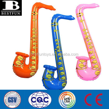 Promotional custom made inflatable cartoon saxophone toys plastic fake party musical instruments for fancy dress