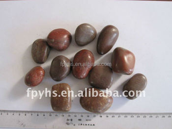 brown polished oval garden pebbles