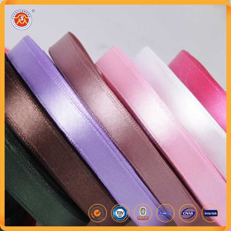2016 , High quality custom polyester rainbow double faced satin ribbon