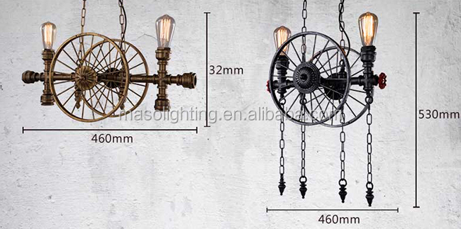 2017 vintage round wheel industrial style vintage iron lamp shade pendant light for indoor pendant lamp MS-P6105