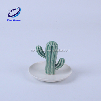 Wedding Gifts Cactus Figurines for Ceramic Crafts Jewelry Rack Ring Holder Decoration