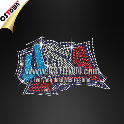 Bling USA Letter Allow Heat Press Logo Rhinestone Transfer Decal