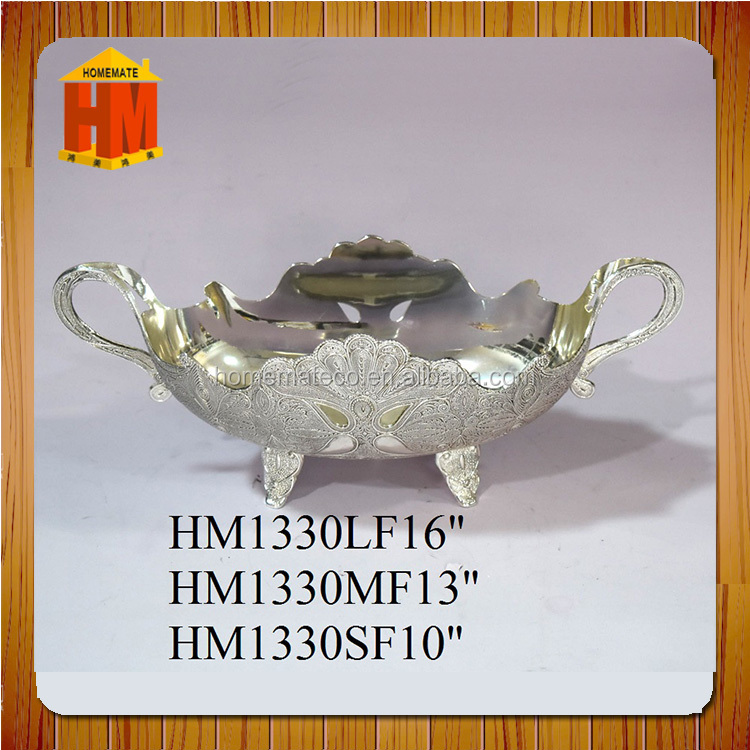 middle size 13inch luxury turkish fruit basket / silver plated zinc alloy gondollar / candy dish /tableware nuts bowl