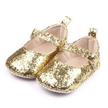 Baby Shallow Leather Bling Baby Girls Solid Soft Soled Girls Fancy Shoes