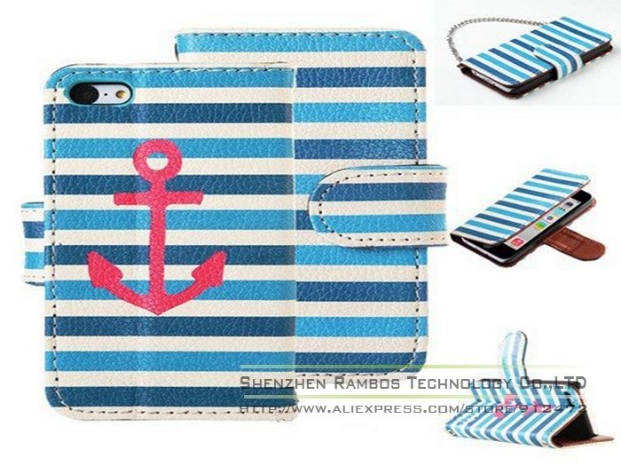 Boat Anchor Horizontal Pattern Soft PU Leather Cell Phone Case Cover for iPhone 4 4S with 3 Card Holder Slot