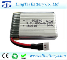3.7v 800mah 25c rc helicopter battery 902540 rc drone li polymer battery