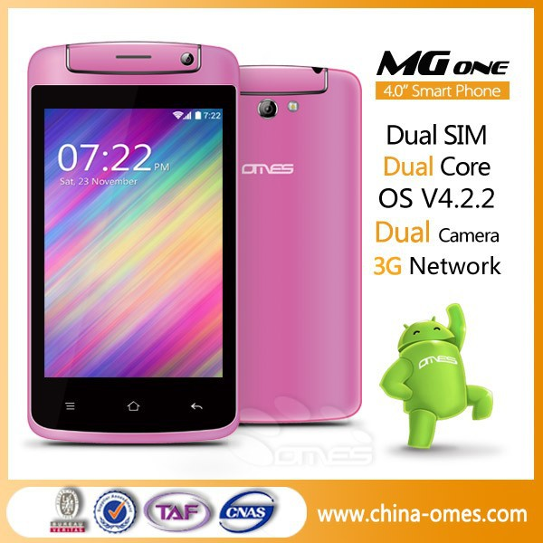 Pink Color Phone MG1 4 inch Dual core 3G dual sim android world cheapest cell phone