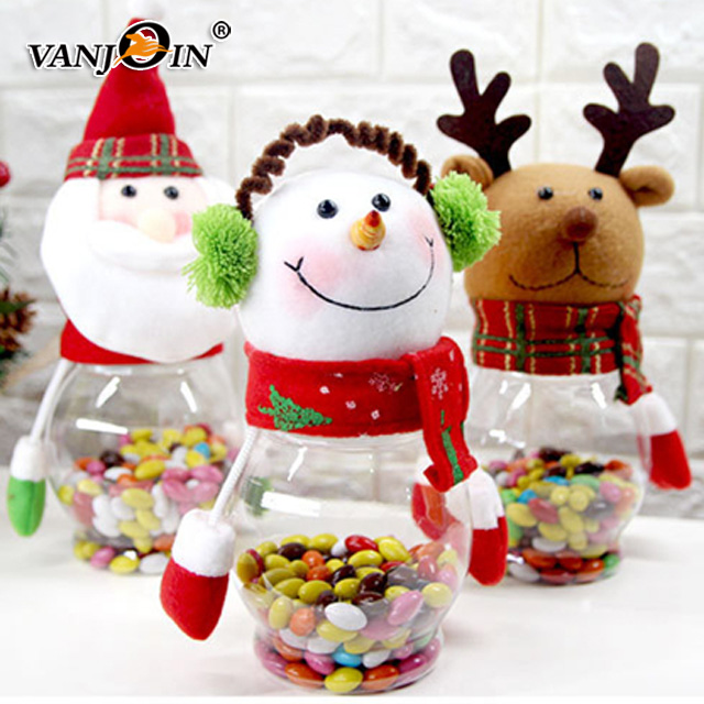 Furnishing Articles Product Transparent Plastic Cartoon Santa Snowman Christmas Decorations Doll Candy Jar