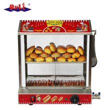 Hot dog machine with bun warmer