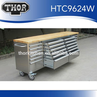 Hyxion 96''24 drawer Solid hardwood steel tool boxes for trucks
