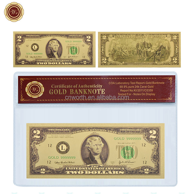 WR USD 2 Gold Plated Banknote US Fake Bills Copy Paper Money Home Decor Creative Birthday Gifts for Collection