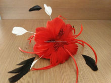 2016 new fashion red party girl hair decor feather mini top hat with clips