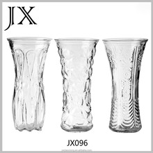 different types cheap embossed pattern clear glass vase for flower arrangement