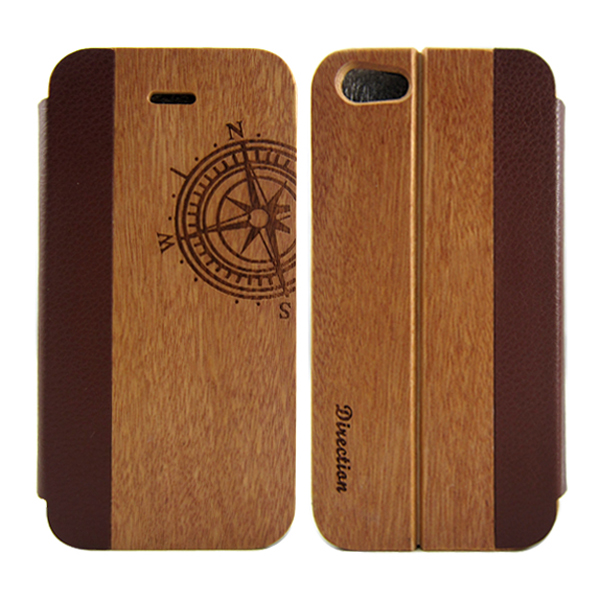 Quality rounded windowless leather flip phone case, wooden leather case for iPhone 5 5s