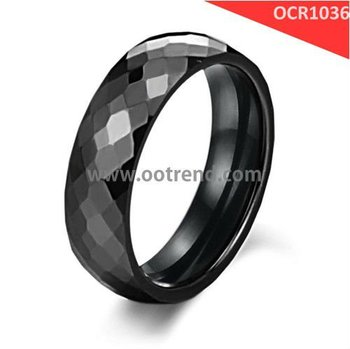Hot sale faceted black ceramic rings