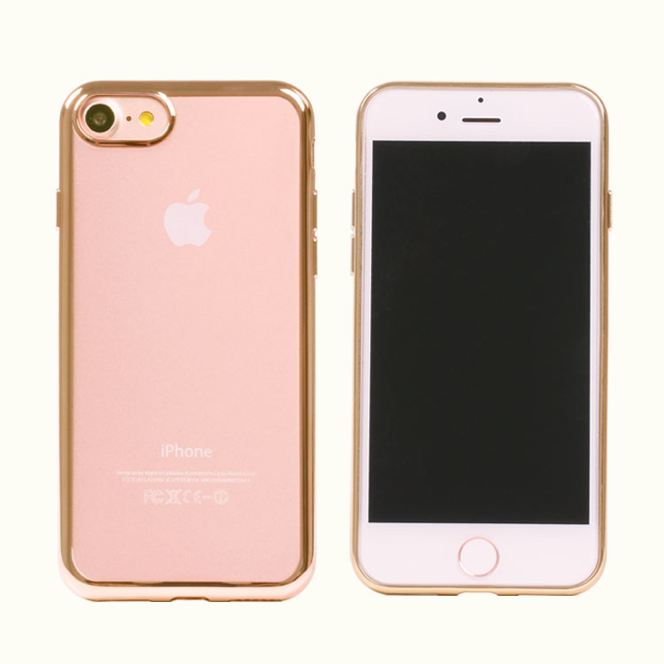 Custom design real Electroplating waterproof transparent TPU case for iphone 7 7 plus