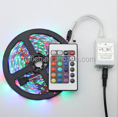 5m/lot RGB LED strip Light SMD 5050 fita de led 12V 60leds/m flexible rgb Led Tape with 2A Power Supply 24Key Remote Controller