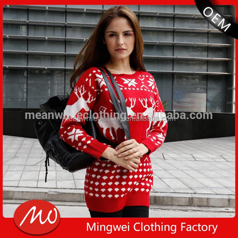 2016 Winter styled long cute women pullover two colour sweater design with low price