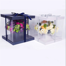 Custom luxury nice Waterproof clear plastic round Flower Box packing With Lid