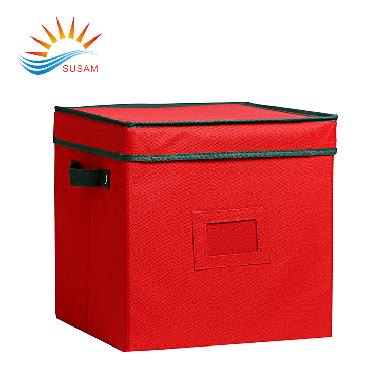 New design red folding kids toy home oxford storage box with handle