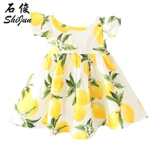 Shijun Baby Girls Dress Lemon 100% Cotton In Stock Kids Clothes