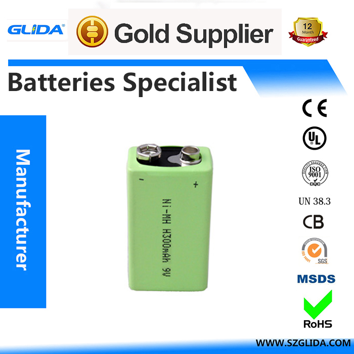 Original A grade ni-mh 300mAh 9V battery