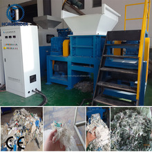 double shaft wood shredder machine/double shaft wood pallet shredder