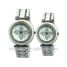 2013 Vogue Cute Stone Studded Plastic Couple Watch Gift Set Watch for Couples