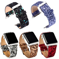 for Real Leather Apple Watch Strap, Glitter Genuine Leather Watch Buckle Band Strap for Apple Watch iWatch