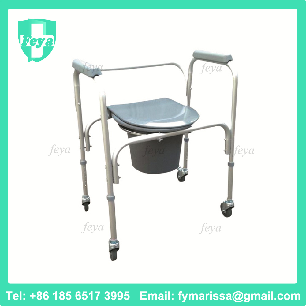 FY-8801LW Lightweight Hospital Plastic Commode Chair with Wheels Manufacturer