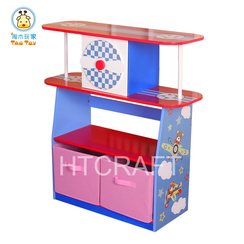 88CM Height Plane Kids Bookshelf With Two Storage Box, Styllish Movable Bookshelf With Cheap Cost For Wholesale