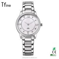 hot selling lady crystal on bezel wrist watches with fashion thin GL20 movt two needles