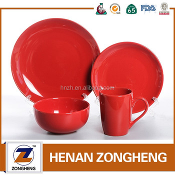 Red Colorful cheap price stock 16- piece tableware dinnerware set