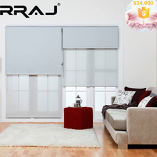 RRAJ Blackout Roller Blinds with Sunscreen Fabric Blind