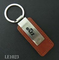custom cheap price pu leather keyring metal leather key chain for wholesale
