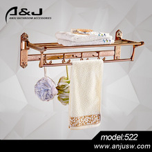 Rose Gold Zinc Alloy Hotel Bathroom Towel Racks Wall Mounted Chrome Plating Towel Rack