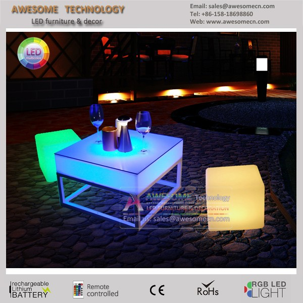 lighted LED acrylic box coffee table