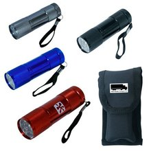9 LED stuby flashlight. One colour print. Polyester pouch included.