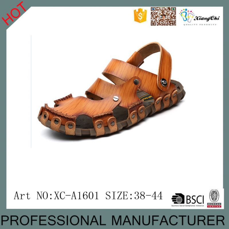 XC-1601 New Model Wholesale Breath Leather Beach <strong>Sandals</strong> for Men