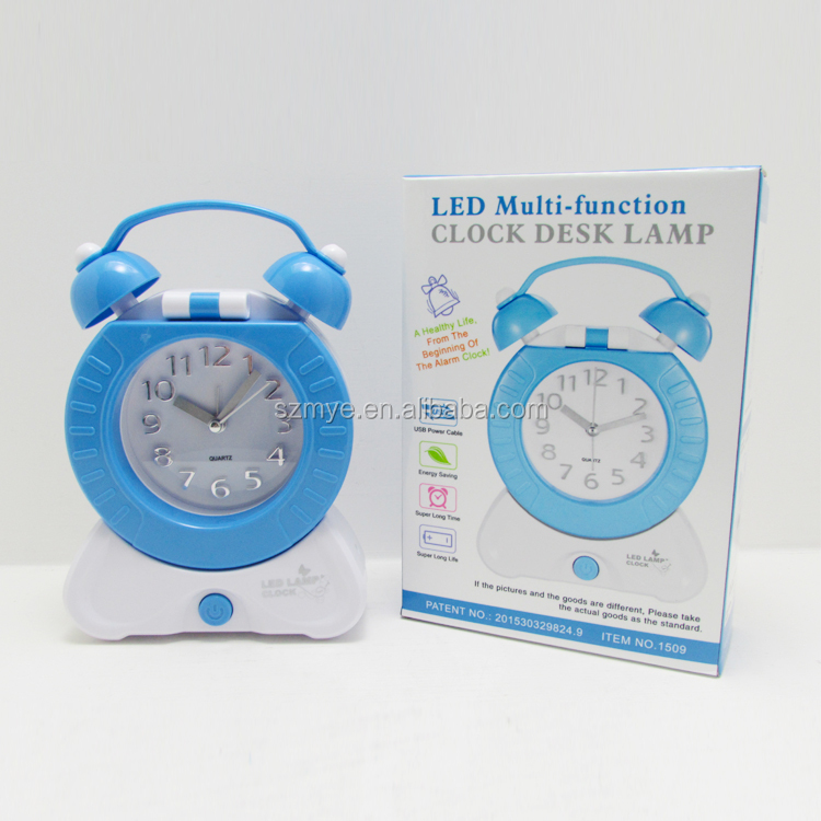back to school gift led wake up lamp usb battery-operated bedside wall-mounted+led+clock table lamp light