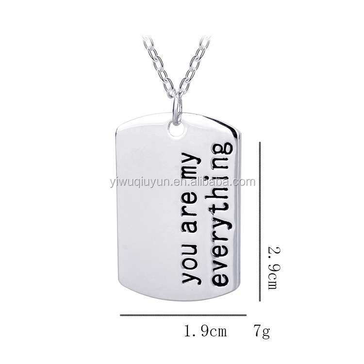 "Simple Lover Necklace "" You are my everything "" Alloy Silver Couples Lover Pendant Necklaces Birthday Memory Gifts Wholesale"